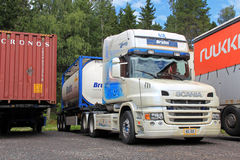 Scania T124 Truck. EKENAS, FINLAND - JULY 20, 13: Scania T124 truck parked in Ekenas, Finland on July 20. According to Scania, analysts use road tolls and stock photos