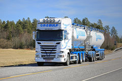 Scania Tank Truck of KS-Bulk on Beautiful Day royalty free stock image