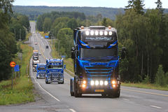 Scania Truck of Nima Transport in Convoy. IKAALINEN, FINLAND - AUGUST 11, 2016: Scania 6x2 2016 of Nima Transport, Holland takes part in the ca. 420 km long stock photo