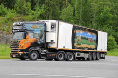 Scania V8 Temperature Controlled Semi Hauls Frozen Food Stock Images