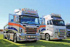 Scania and Volvo Show Trucks Royalty Free Stock Photography
