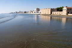 Scanic landscape of Larnaca beach and Fort, Larnaka Cyprus. Scanic landscape of Larnaca Fort and Medieval Museum, Larnaka, Cyprus, with city`s beach royalty free stock images