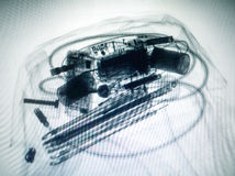 Scanned baggage on the x-ray scanner screen Stock Image