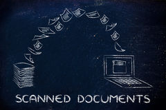 Scanned documents: scanning paper and turning it into data. Pile of sheets being turned into data, concept of scanning documents Stock Photo