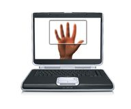 Scanned hand on laptop screen Stock Photography