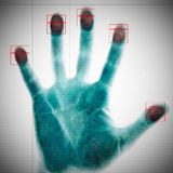 Scannen der Fingerabdrücke Stockfoto