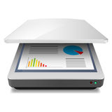 Scanner. Opened Office A4 Scanner. Illustration on white Royalty Free Stock Photos