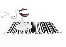 Scanner and barcode. Red scanner for barcode and business Stock Photography