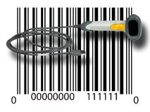 Scanner on barcode Royalty Free Stock Images