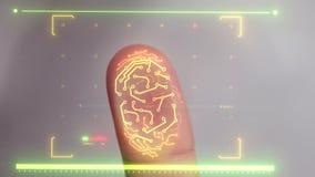 Scanner biométrique balayant un doigt humain et identifiant l'utilisateur pour l'accès banque de vidéos