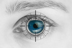 Scanner on blue human eye. Macro image of blue eye, Scanner on blue human eye Royalty Free Stock Photography