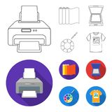 Scanner, color palette and other equipment. Typography set collection icons in outline,flat style vector symbol stock. Illustration royalty free illustration