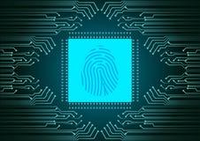 Scanner d'empreinte digitale de Digital ; Système d'identification ; Concept de sécurité de Cyber Photos stock