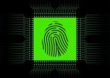 Scanner d'empreinte digitale de Digital ; Système d'identification ; Concept de sécurité de Cyber Photographie stock