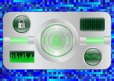 Scanner d'empreinte digitale de Digital ; Système d'identification ; Concept de sécurité de Cyber Images libres de droits
