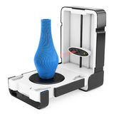 Scanner de bureau moderne debout gratuit de la maison 3D balayant M abstrait illustration stock