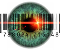 Scanner eyes. Konzept photo of eyes with barcodes and qr codes Royalty Free Stock Photo