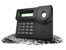 Scanner and imprint. For security Stock Photo