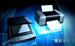 Scanner and printer. Digital illustration of Scanner and printer  in colour background Stock Photos