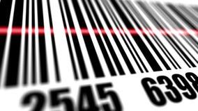 Scanner scanning barcode. Closeup of scanner scanning barcode vector illustration