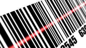 Scanner scanning barcode. On with white background. Depth of fields Stock Photography