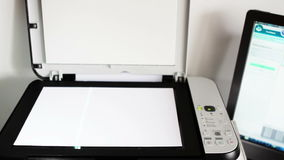 Scanner. Scanning papers, documents in office