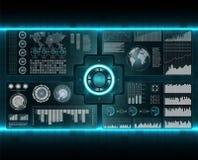 Scanners de vérification réglés Balayage de doigt dans le style futuriste Identification biométrique avec HUD Interface futuriste illustration libre de droits