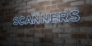 SCANNERS - Glowing Neon Sign on stonework wall - 3D rendered royalty free stock illustration Royalty Free Stock Image