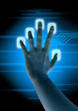 Scanning. Of finger on a touch screen interface Royalty Free Stock Images