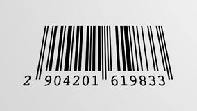 Scanning Barcode. Scanning process of a EAN Barcode with a red optical laser going up and down, loopable royalty free illustration