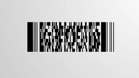 Scanning Barcode. Scanning process of a PDF417 Barcode with a red optical laser going up and down, loopable stock illustration