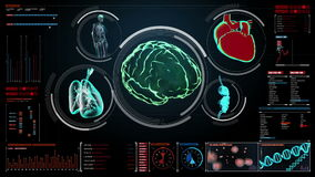 Scanning brain, heart, lungs, internal organs in digital display dashboard. X-ray view.