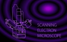 Scanning electron microscope  banner. Scanning electron microscope  colorful bammer illustration. Modern equipment for a physical laboratory for the study of Stock Photo