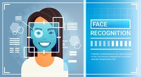 Scanning för näthinna för öga för system för framsidaerkännande av kvinnan, Biometric begrepp för IDteknologiåtkomstskydd vektor illustrationer