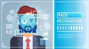 Scanning för näthinna för öga för system för framsidaerkännande av mannen, Biometric begrepp för IDteknologiåtkomstskydd royaltyfri illustrationer