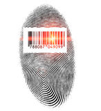 Scanning fingerprint. Konzept photo of a fingerprint with barcodes and qr codes Stock Photos