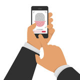 Scanning fingerprint on phone. Vector illustration of identification of fingerprint on smartphone in flat style. Concept of illustration of identification of the Stock Photos