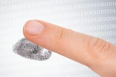 Scanning fingerprint - security concept. Scanning fingerprint - biometric and security concept stock photos