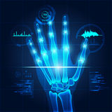 Scanning. Hand x-ray with teachnological theme, concept of healthcare technology Royalty Free Stock Photo
