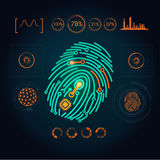Scanning. Interface of fingerprint scanning graphic Royalty Free Stock Photo