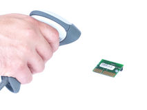 Scanning microchip. Man holds in his hand on a microchip scanner isolated white Stock Photos