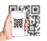 Scanning QR Code With Smart Phone Stock Image