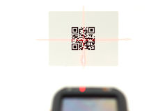 Scanning quick response code label  with laser  Stock Photos