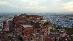 Scanning shot of Mehrangarh Fort in Jodhpur, Rajasthan. Aerial shot.Scanning shot of Mehrangarh Fort in Jodhpur, Rajasthan Professional shot in 4K resolution stock video