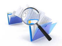 Scanning of transferring files. Magnifying glass over the moving documents between blue folders. 3d illustration Royalty Free Stock Image