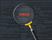 Scanning virus on script background with magnifying glass concept Stock Photography