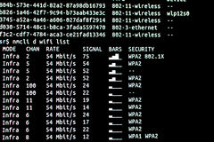 Scanning wifi networks. Linux command scan wifi Stock Image
