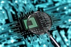 Scansione del micro chip Fotografia Stock