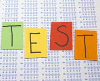 Scantron Test with Colorful Letters Stock Photos
