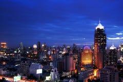 Scape города Бангкок взгляда ночи Стоковая Фотография RF